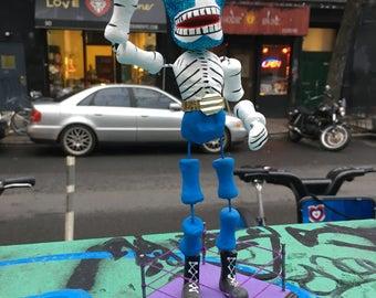 "Deluxe 9"" Tall Mexican Wrestler Day of the Dead Figurine, Dia De Los Muertos Lucha Libre Skeleton"