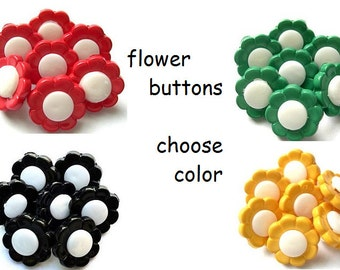 10 Flowers buttons with white center plastic, 13.5mm,  MIGHT BE VINTAGE-choose color