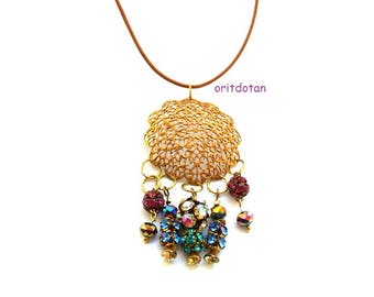 Necklace, made of vintage filigree, very gentle lace pattern with handmade elelments