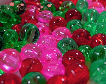 Vintage Beads Lot Assorted Loose Lucite Plastic Acrylic Mixed Grab Bag Round 6mm 8mm Cherry Red Pink Green Bubblegum Gumball Retro Mod Japan