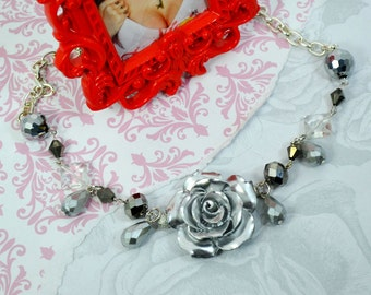 SILVER ROSE - Large Rose charm and Silver beads Choker Necklace.