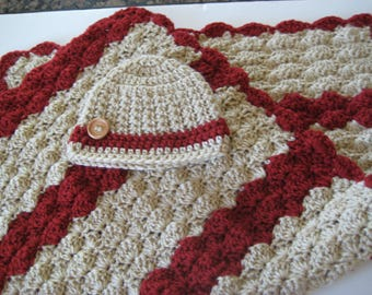 Crochet Baby Boy Blanket Set with Hat - Baby Travel Blanket, Stroller or Baby Carrier Blanket Set - Red & Khaki - Crib Size Available