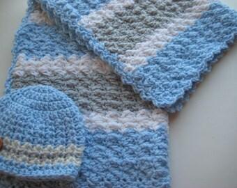 READY TO SHIP Crochet Baby Boy Blanket Set, Baby Shower Gift Large Travel Blanket Set, Stroller-Baby Carrier, Blue & Grey Baby Blanket Set