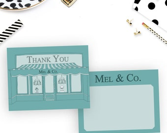 Thank You Card, Breakfast at Tiffany's Style, custom, personalized, monogram, birthday, sweet 16, party