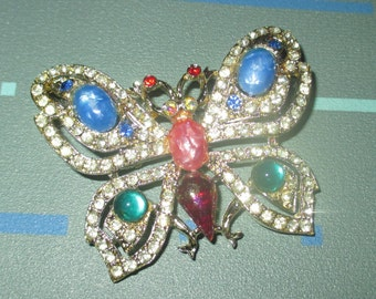 Vintage FAB Rhinestone and Lucite Jelly Belly Butterfly Pin