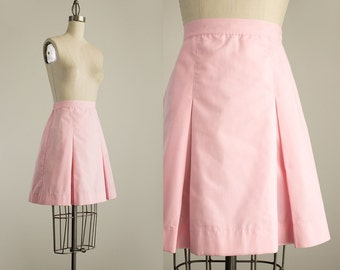 80s Vintage Pink Pleated Mini Skirt / Size Small