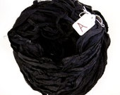 Recycled Silk CHIFFON Sari Ribbon, Chiffon Sari silk ribbon, Black Chiffon ribbon, tassel supply, weaving supply, knitting supply