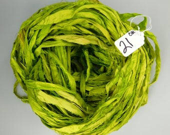 Silk Sari Ribbon, Sari silk ribbon, Chartreuse sari ribbon, knitting supply, weaving supply, crochet supply, ribbon yarn