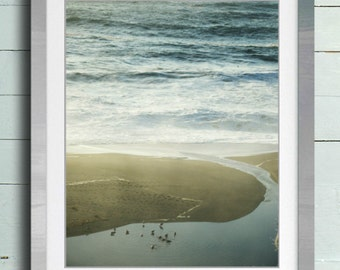 """Beach ocean photography print, neutral tan pale blue rustic wall art """"Into the Sea"""""""
