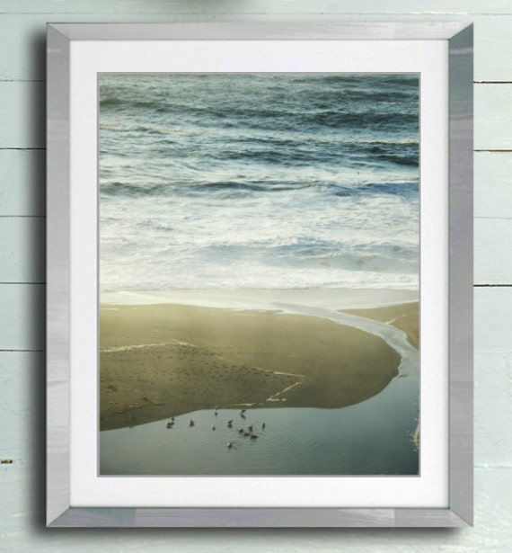 Beach photography neutral tan pale blue ocean rustic beach wall art photography print - Into the Sea