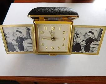 Elgin Travel Alarm Clock Wind Up Clock Vintage Clock with Photo Frames Pop Up Clock