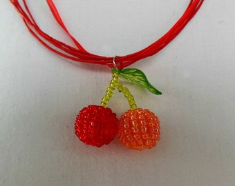 Beaded Cherries Necklace