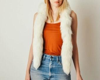 Vintage White Fur Scarf