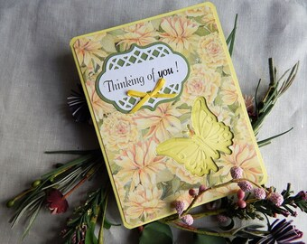 Handmade Birthday Card: complete card, handmade, balsampondsdesign, butterflies, yellow, green, greeting card, birthday card