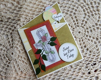 Handmade Easter Card: christian, cross, complete card, handmade, balsampondsdesign, greeting card, yellow, green