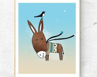 Donkey Print, Donkey Illustration, Cute Animal Wall Decor, Kids Room, Children Art, Donkey Nursery Art, Custom Name