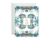 THE WORLD Is Your OYSTER Sage Green + Turquoise Tiled Marble Greeting Card / Best Seller / Graduation / New Job / Bon Voyage