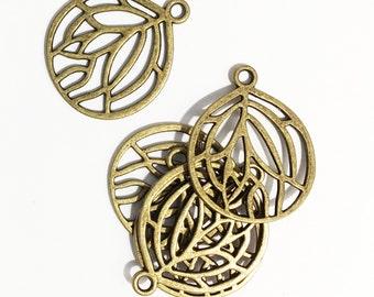 Bulk 50 pcs of Antique brass pendant 27x22mm, antique bronze teardrop  pendant, bulk alloy pendant