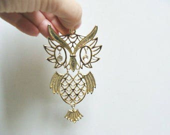 Huge Vintage Owl Pendant Articulated With Crystal Eyes