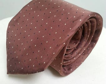 Vintage Liberty of London Silk Tie Brown With Black and White Dots