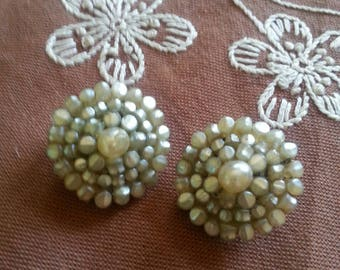 Vintage Faux Pearl Clip On Earrings Shield Design