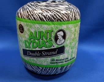 Aunt Lydia's, Double Strand, cotton crochet thread, Black/White, 300 yard ball