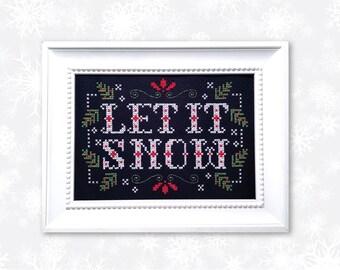 Let it Snow Winter Cross Stitch Pattern Instant Download