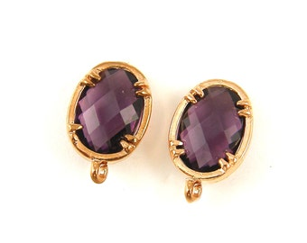 Purple Earring Findings, Purple Rose Gold Post with Loop, Amethyst Faceted Stone Earring Post Jewelry Findings |PU2-9|2