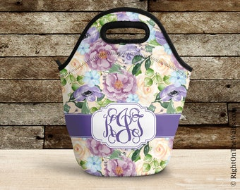 Rose Floral Lunch Tote, Gift for Women, Purple Monogram Lunch Bag, Large Insulated Lunch Box, Personalized Mothers Day Gift 22LovelyRoses4