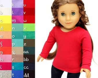 Fits like American Girl Doll Clothes - The Basic Tee, You Choose Color and Sleeve Length, Made To Order