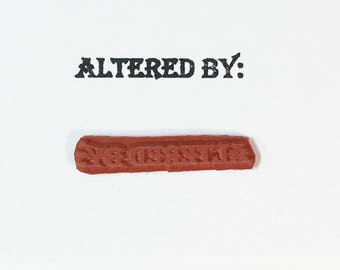 Altered By - Altered Attic Rubber Stamp - CLEARANCE - Artist Signature Label Title Sign Author - Art Craft Scrapbook Mixed Media ATC Collage