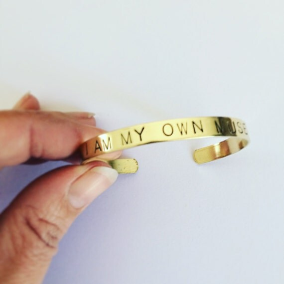 Frida Kahlo Quote Brass Cuff - Muse - Positivity - Uplifting - Adjustable