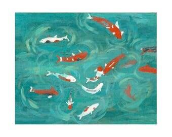 Koi Pond Print, Nursery Art, Printable Art, Fish Illustration, Koi Painting, DIY Art, Printable PDF, Orange and Aqua Decor, Unique Print