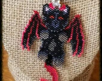 Devil Cat, Demon Cat,  Black Cat Wiggle Necklace, hand beaded