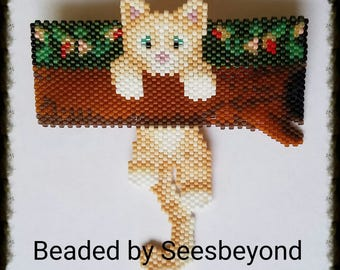 Hang in there Kitty! Blond Tuxy Wiggle Beaded Barrette