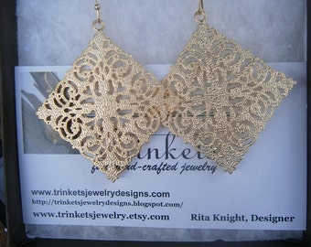 18K Gold-Plated Large Filigree Earrings on Matching Ear Wires; Lightweight