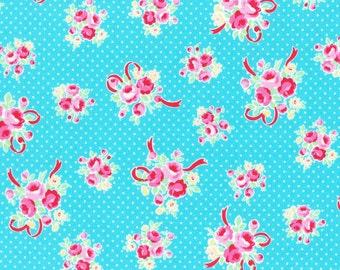 Aqua Ribbon Bouquet 31378 77 Fabric by Lecien Flower Sugar Sweet Carnival