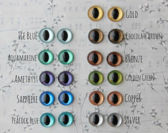 Metallic Hand Painted Cat Eyes - Your Choice of Size - 12mm 15mm 18mm - 4 pairs Craft Safety Eyes