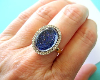 Sterling Silver Druzy Quartz Halo Ring Size 7