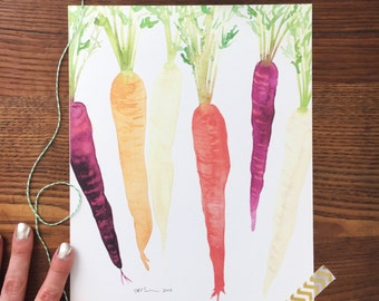 Carrot Art. Rainbow Carrots Print. Watercolor Veggies. Vegetable Painting. Kitchen Decor. 8x10 Wall Art. Gift Under 20. Ready to Frame