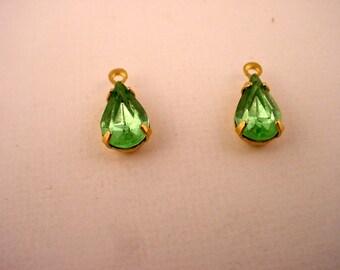 6 Vintage Light green Peridot glass  Rhinestone Pear  Charms 10x6 Brass  Prong Settings 1 Ring Closed Back
