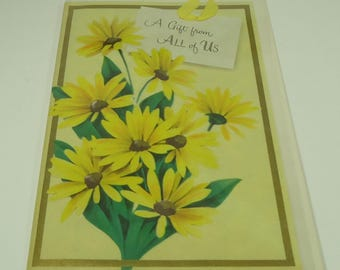 Black-Eyed Susan Best Wishes Vintage Greeting Card With Envelope