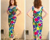 40% MOVING SALE 50s 60s maxi dress / SILK cocktail dress / floral wiggle dress / holiday cocktail dress / sexy pin up dress / womens small,