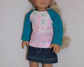 18 inch doll clothes, geometric design graphic print shirt, blue denim skirt,  Upbeat petites