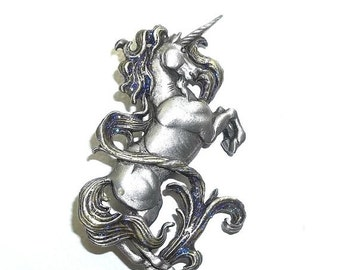 JJ Unicorn pin Jonette brooch nos pewter Mythical Horse Purple glitter