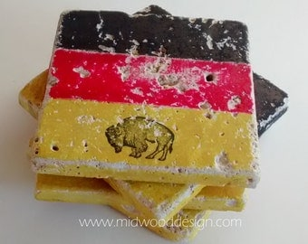 Buffalo German pride stone tile coasters set of 4