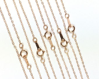 minimalist chain, 14K  rosegold fill, bridesmaid gift, Rose Gold, 1.3mm hammered cable, 18 inches, spring clasp, sturdy construction, 5 pack