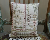 Decorative Valentine's Pillow, Hearts, Sweetheart, Love, Cupid, Hand Stitched Pillow