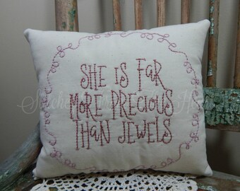Baby Girl Pillow - Nursery Quote - She Is Far More Precious Than Jewels - Nursery Decor - Decorative Throw Pillow - Baby Girl