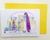 Australian Christmas Card - retro caravan surf camping summer holiday christmas tree - A6 watercolour print